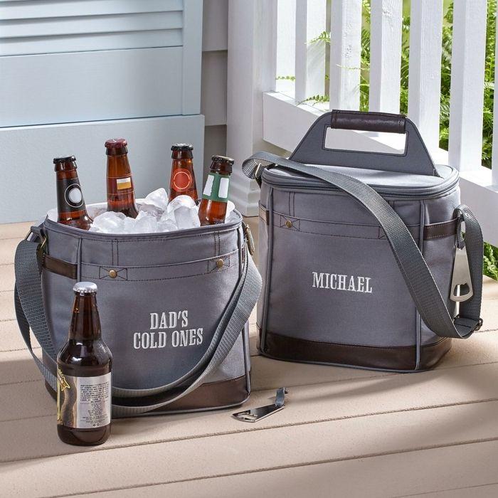 geschenke für männer selber machen, kühltasche bier kalt halten, tasche zum kühlen mit aufschrift