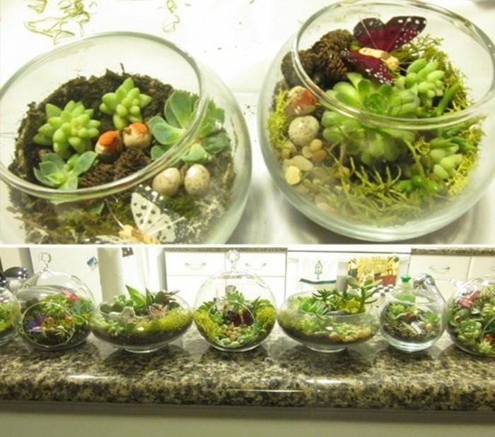 geschenke für mama selber machen, glas als topf gestalten und mit pflanzen ausstatten, kakteen anpflanzen