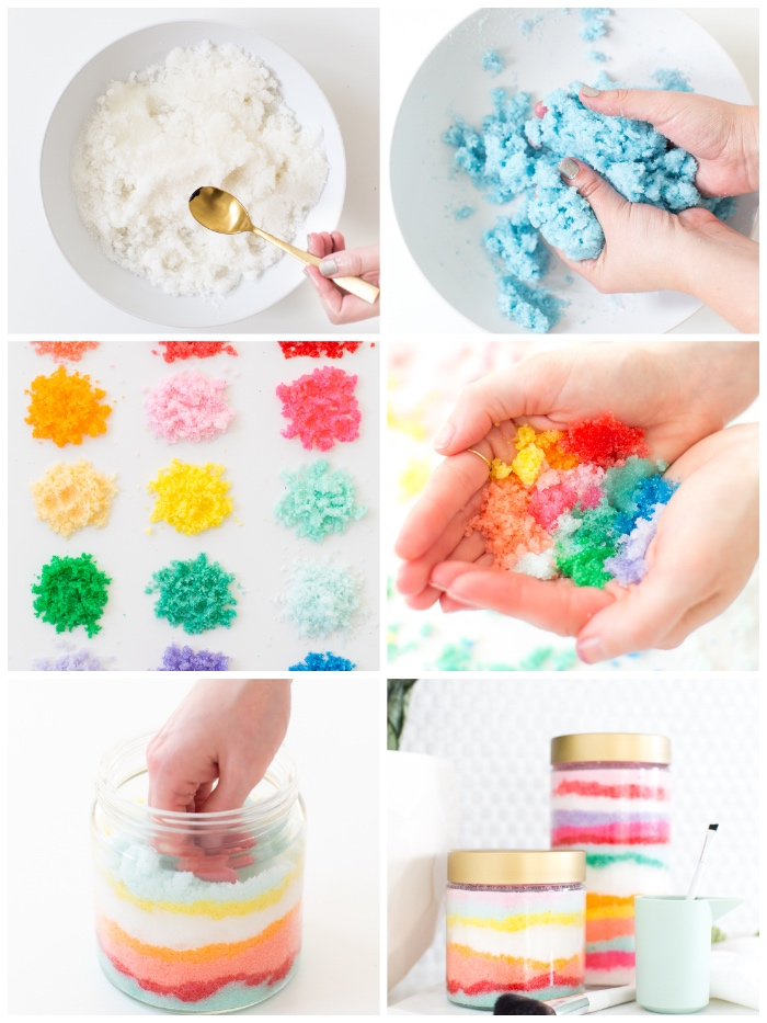 geschenk muttertag, selsbtgemachte kosmetik, körperpelling in den regenbogenfarben, diy kosmetik