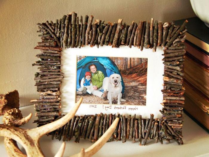 geschenkideen beste freundin selber machen, bilderrahmen aus naturmaterialien, foto mit bestem freund