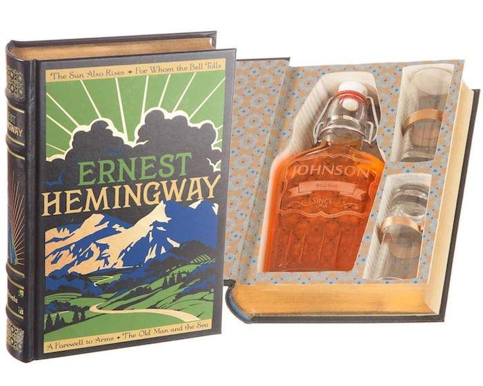 geburtstagsgeschenke für männer, buch ernest hemingway, buch geheimnis geheim kasten für flasche und gläser