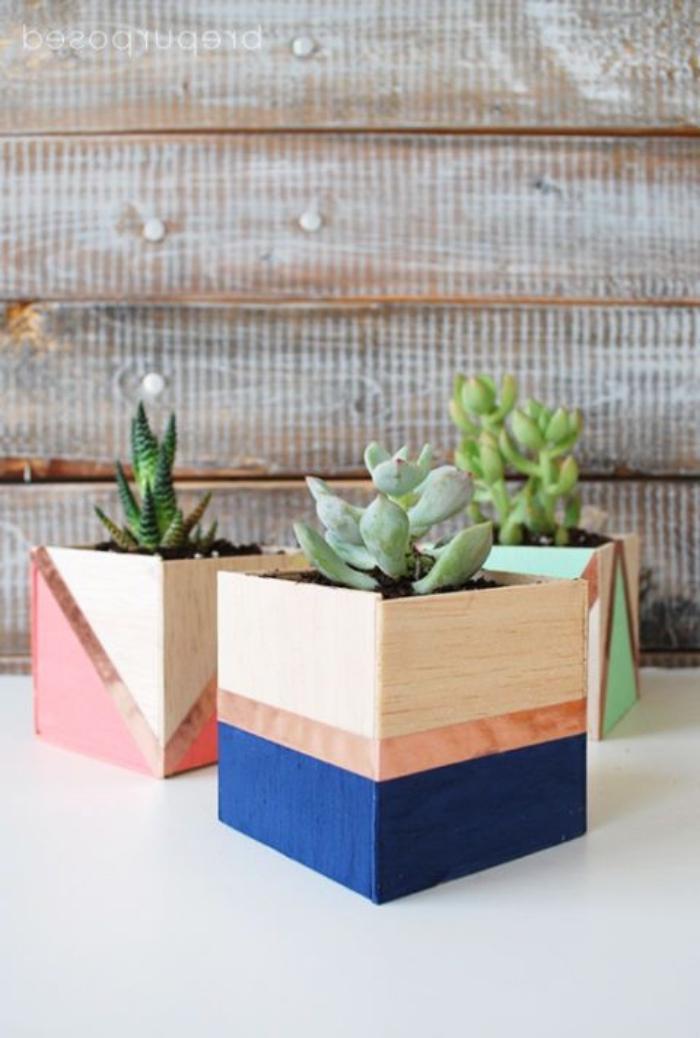 blumentötpfe basteln aus holzplatten, geschenke für muttertag selber machen, geometrische deko