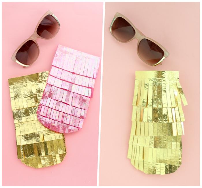 geschenke für muttertag, brillenbeutel basteln aus goldenem stoff, streifen schneiden, sonnenbrille