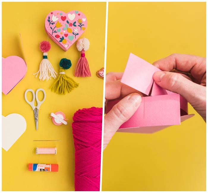 geschenke zum muttertag selbst basteln, geschenkbox herz aus rosa papier, florale motive