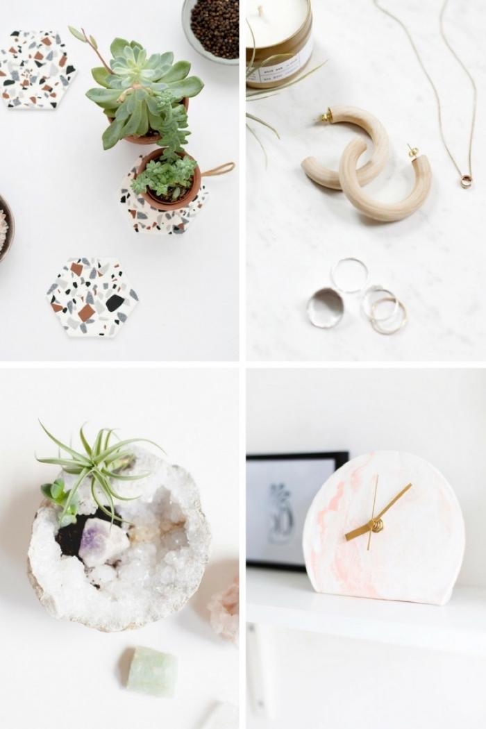 selsbtgemachte tassenuntersetzer, deko kristalle, geschenke für muttertag, uhr in weiß und rosa