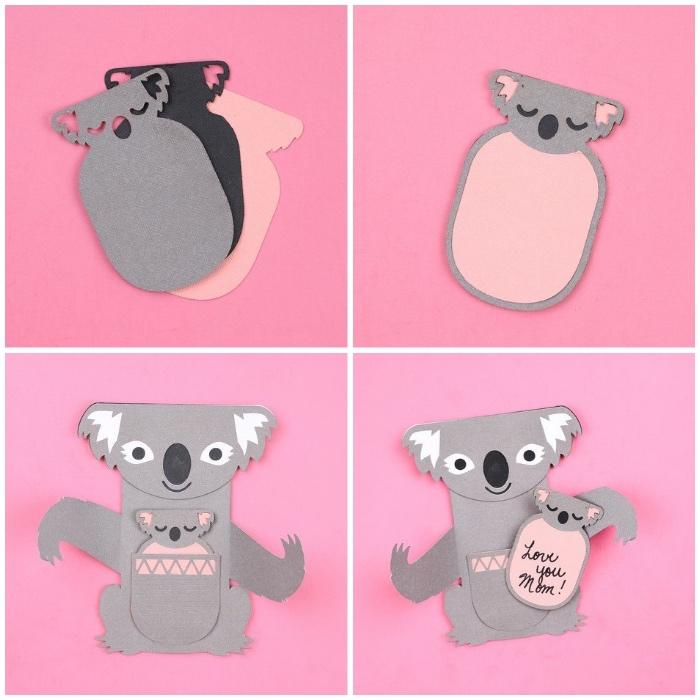 geschenke zum muttertag basteln mit kindern, geschenkkarte koala, was kann man zum muttertag schenken