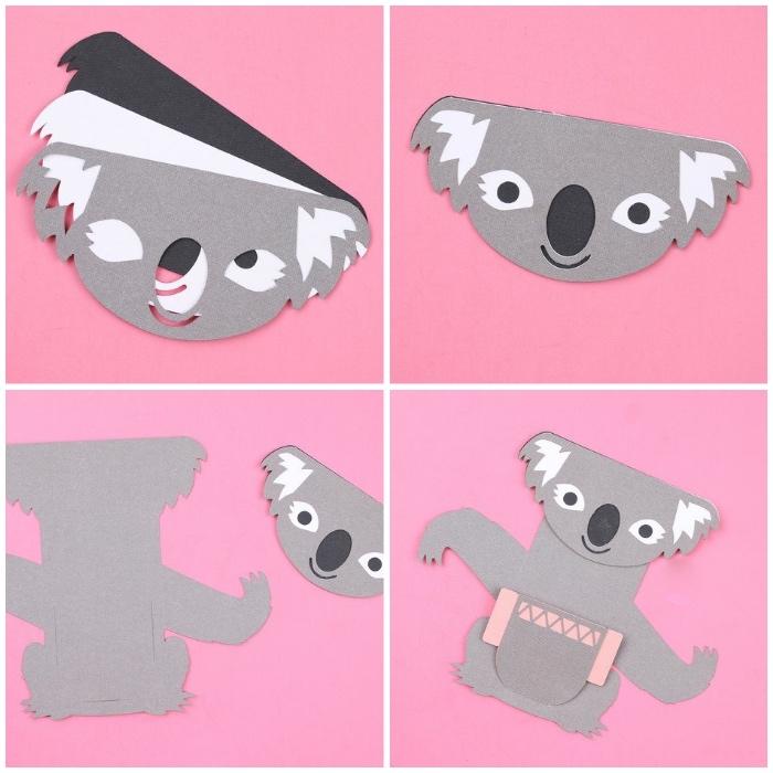 geschenkkarte koala, schritt für schritt, geschenke zum muttertag, basteln mit kindern