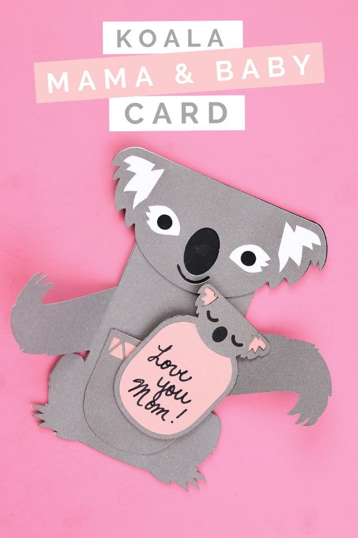 geschnek zum muttertag selber machen, mutter und baby koala, geschenkkarte basteln