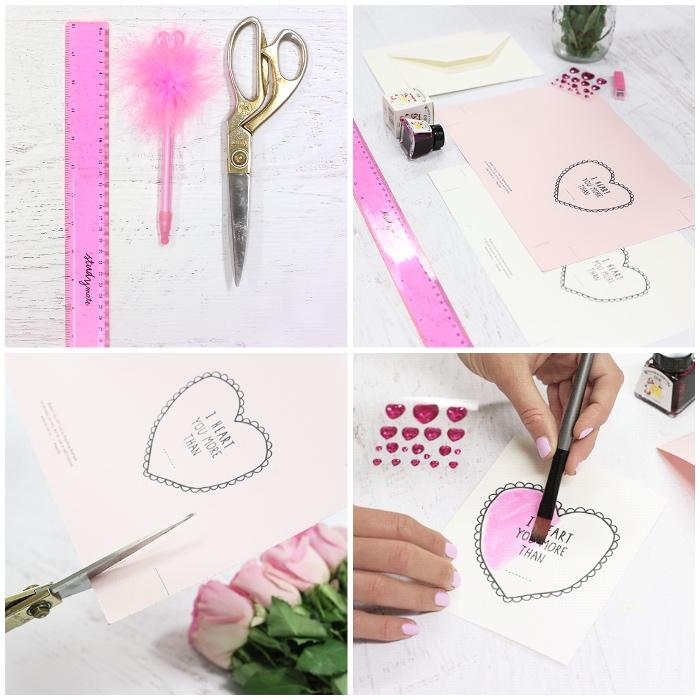 geschenk zum muttertag, diy ideen, geschenkkarte selber machen, karte mit herzen, goldene schere, rosa lienal