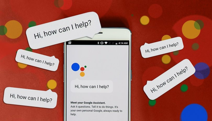 roter Hintergrund, Google Assistant on Smartphone, Aufschriften Hi, how can I help you überall