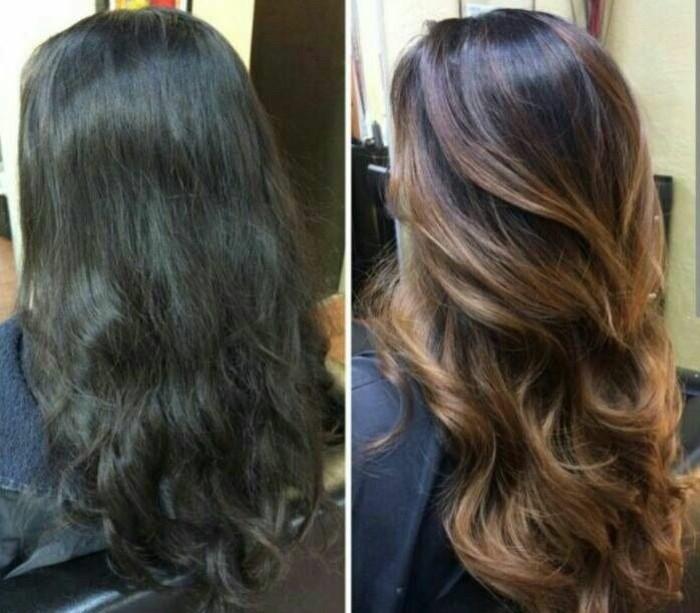 long bob balayage ideen zum frisieren von langem haar, haarfarbe wechseln, glattes haar mit locken