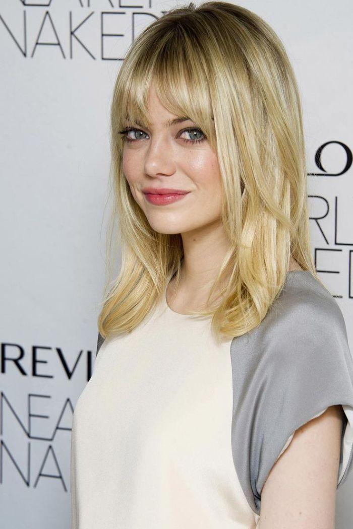 frisuren für mittellanges haar, die haarstyles von den stars, promi haare blond, volle rosa lippen
