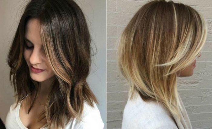 haarschnitt stufenlang, collage, zwei bilder von frauen mit blondierten teilen des haares, von natur braunen haaren mit blonden spitzen
