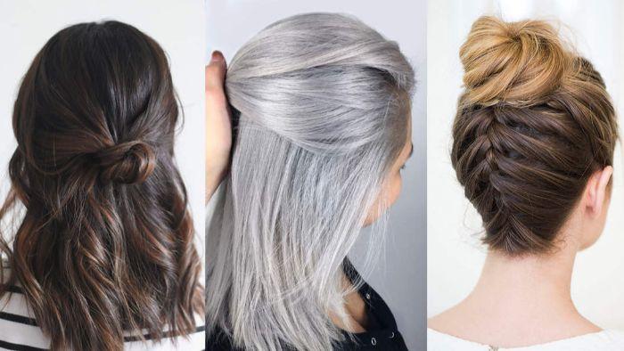 haarschnitt stufenlang, drei frauen mit haaren in verschiedenen farben, schwarz mit braunen strähnen, graublond, braun mit ombre blond