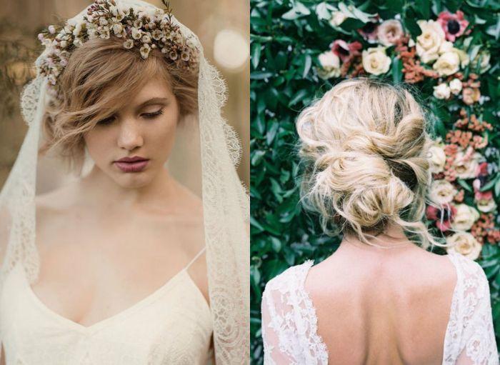 brautfrisuren lange haare, blondes haar gebunden in einer eleganten frisur, schöne braut mit blumenkranz in dem haar
