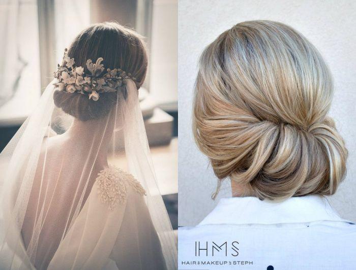 hochzeitsfrisuren halboffen oder niedrig gesteckt, brautfrisur ideen für blonde haare oder braunhaarige bräute