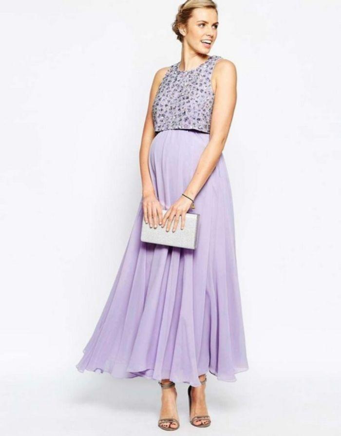 umstandsbrautkleid standesamt, lila kleid mit perlen auf dem oberen teil, elegantes stoff