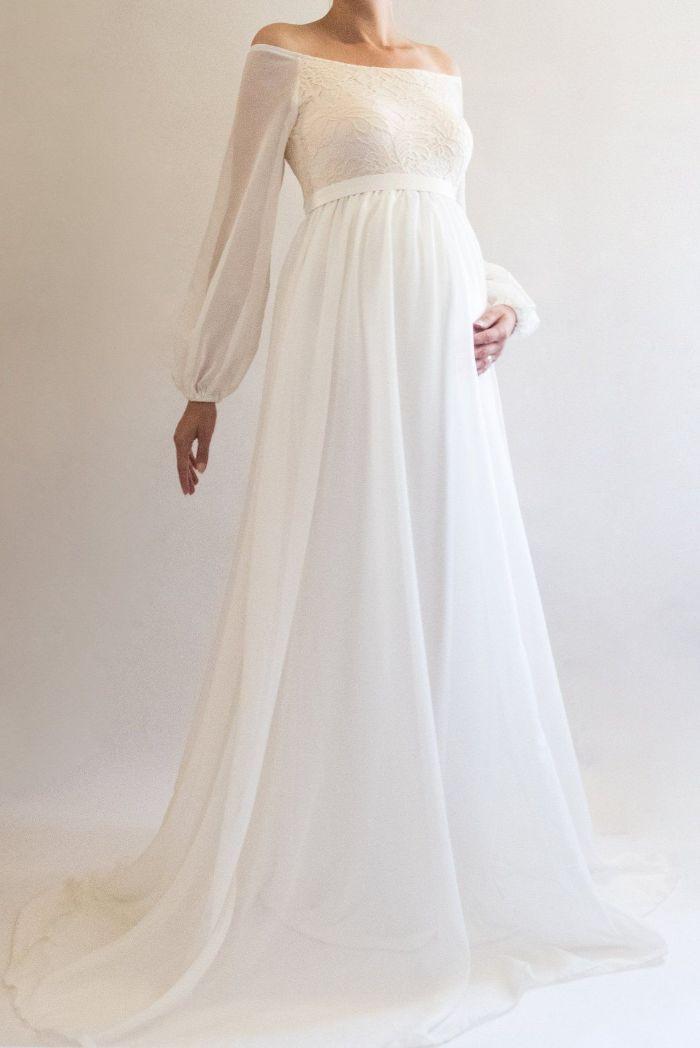 schwangerschaft hochzeitskleid, schulterloses kleid, elegantes brautkleid, breite ärmeln