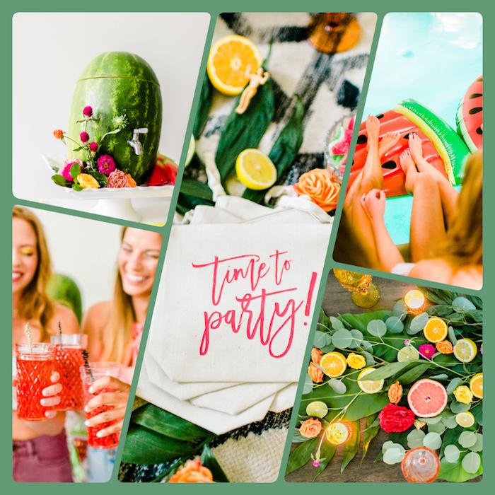 Tropische Party für die Braut planen, Zitrusfrüchte und Kerzen, aufblasbare Wassermelonen, rote Cocktails aus Wassermelone