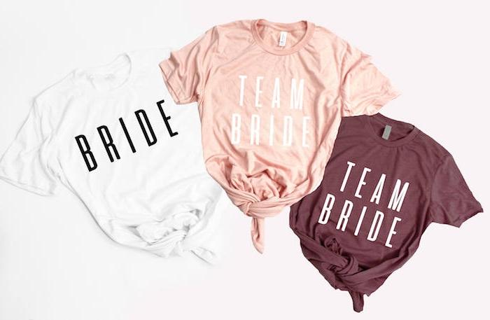 Coole JGA Ideen zum Nachmachen, T-Shirts mit personalisierten Aufschriften Bride und Team Bride