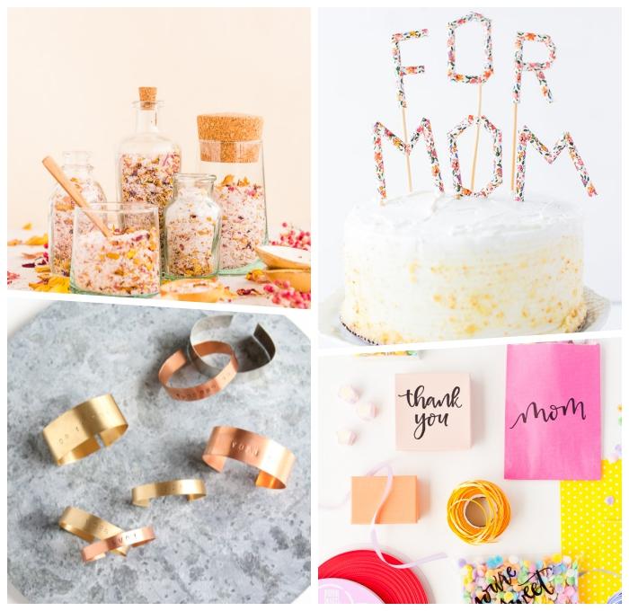 ideen zum muttertag, diy geschenke für frau, selbstgrmachte geschenktüten, torte mit zitronen und vanillesahne, armreifen mit gravür