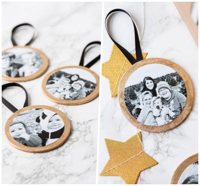 ideen zum muttertag, ornamente mit schwarz grauen familienfotos, fotogeschenk basteln, tassenuntersetzer