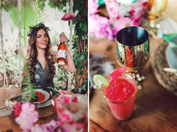 Tropische Party mit Freundinnen vor der Hochzeit organisieren, erfrischende Cocktails und viele Blumen