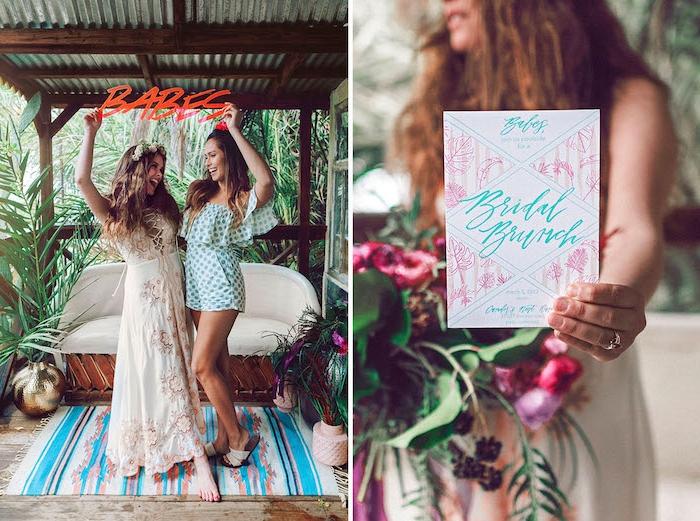 Tropische Party mit besten Freundinnen vor der Hochzeit, Dresscode lässige Sommer Outfits