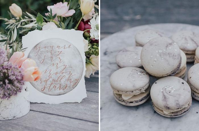 Partyessen für Junggesellenabschied, leckere französische Macarons mit kleinen Glitter Sternchen