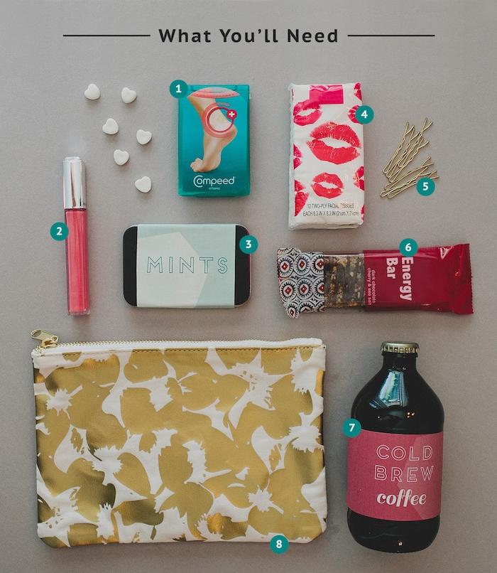 Survival Kit für die Braut, alles Nötige für den großen Tag, Kaffe udn Energy Bar, Lipgloss und Mints, Pflaster und Haarklammern