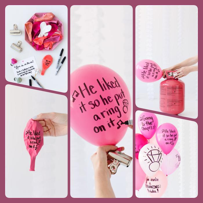 Coole Junggesellenabschied Ideen für Frauen, Ballons mit Permanentmarker beschriften, lustige Botschaften für die Braut