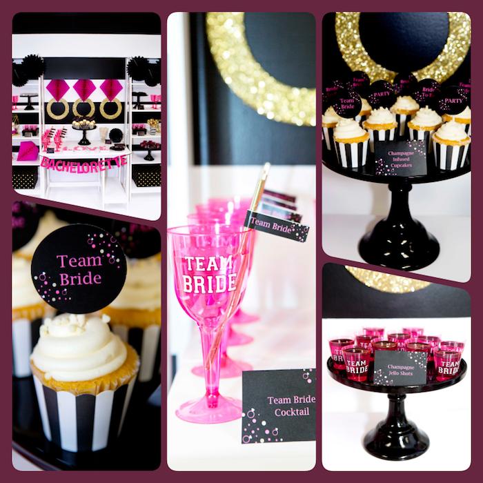 Junggesellenabschied Ideen für Frauen, Shots Cocktails und Cupcakes mit Champagner Creme