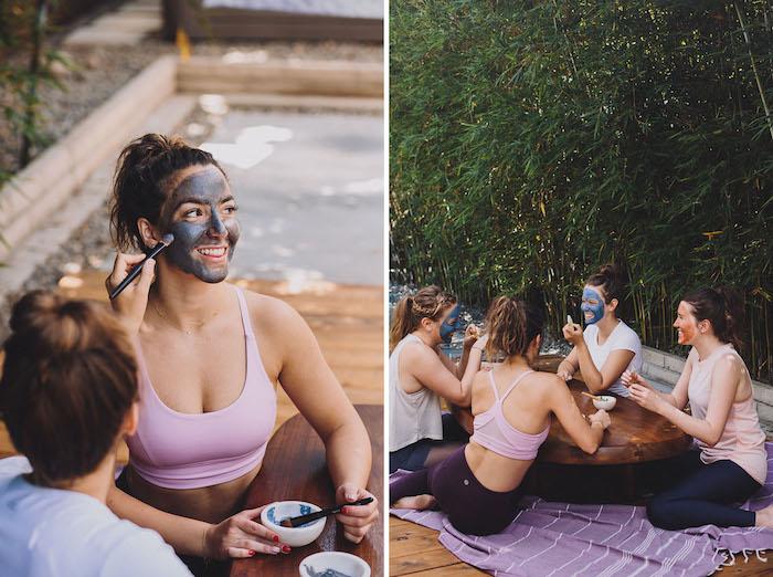 Spa Junggesellenabschied planen, Outdoor Party organisieren mal anders, Gesichtsmaske auftragen
