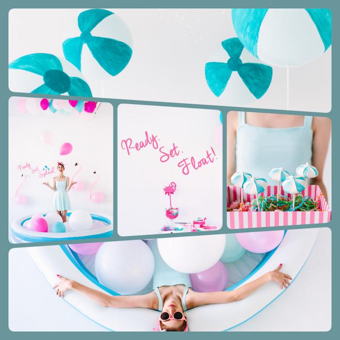 Coole Ideen für glamourösen Junggesellenabschied, Pool voll mit Ballons, Flamingo Deko