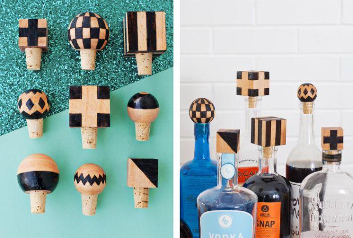 kleines geschenk für freund, schnelle diy ideen zum selber machen, korken dekorieren und als flasche deko und schutz nutzen