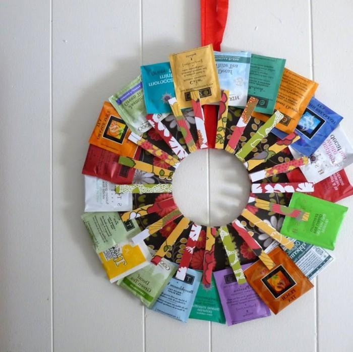 geburtstagsgeschenke selber machen, deko ideen mit teebeuteln, bunte teesorten