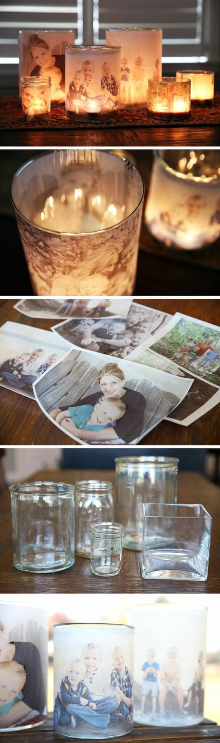 geschenke für mama selber machen, bilder drucken und als vorlagen für kerzenhalter deko nutzen