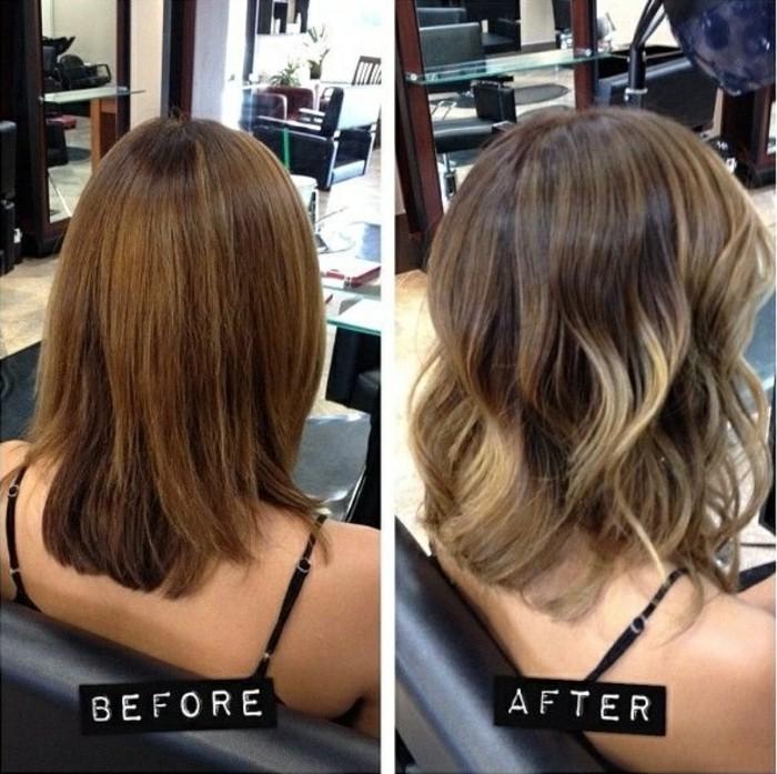 braune haare mit strähnen, kurze haare stylen vor und nachher, blonde strähnen, balayage bob
