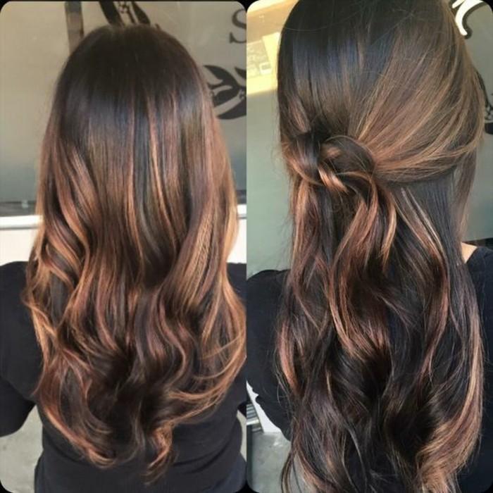 braune haare mit strähnen, langes haar glatt und glänzen stylen, haarfstyle, ideen, strähnen frisur