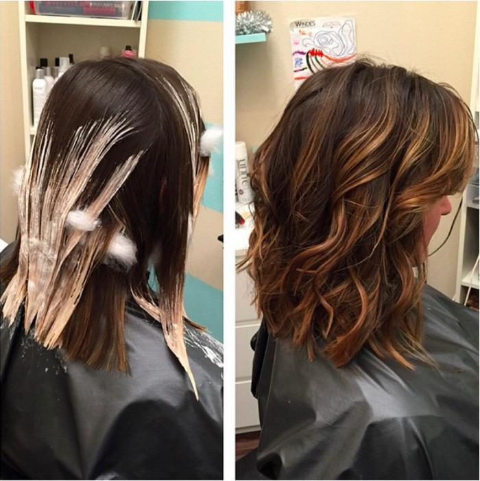 balayage bob ideen zum stylen, während der prozedur und danach, haare beim frisör färben lassen