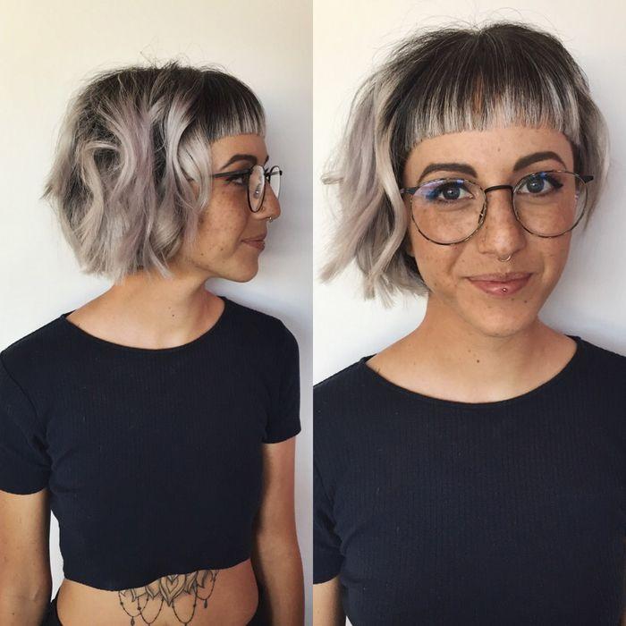frisuren kinnlang, schwarz graues haar, haarstil idee, aschblonde haare lockig stylen mit glattem geraden pony