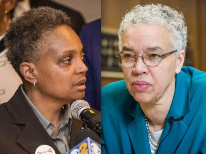 die beide Gegnerinnen für Bürgermeister, Lori Lightfoot und Toni Preckwinkle in Kampf