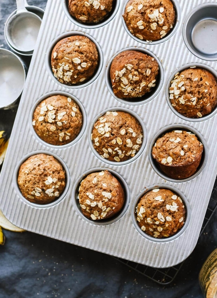 mini muffins rezept mit kakao , zimt und haferflocken, gesunde cupcakes, vegan