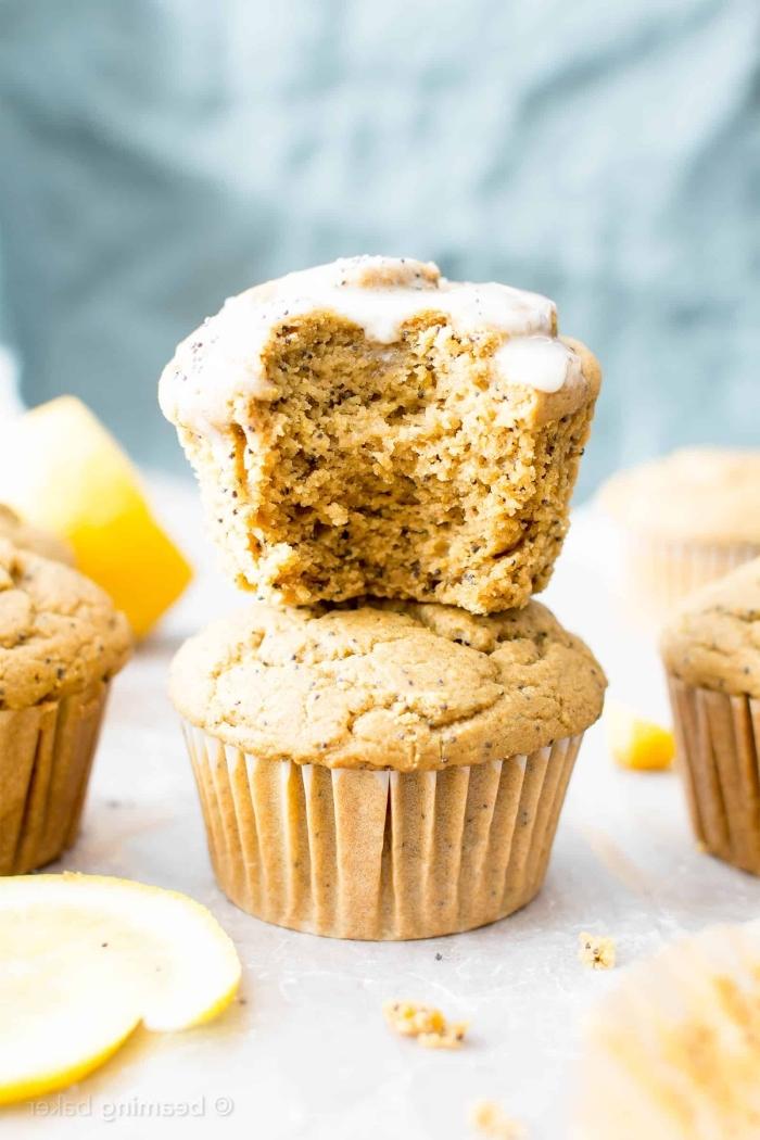 mini muffins rezept mit zitronen und äpfeln, kleine gebäcke, schnelle zubereitung