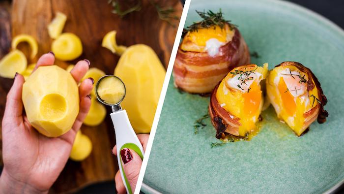 Vulkankartoffeln mit Ei, Cheddar und Bacon Scheiben, mit frischem Thymian garnieren