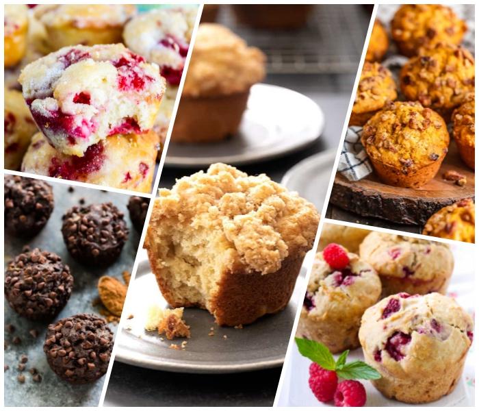 muffins rezept schoko, schokomuffins mit schokoladen chips, verschiedene rezepte, himbeeren