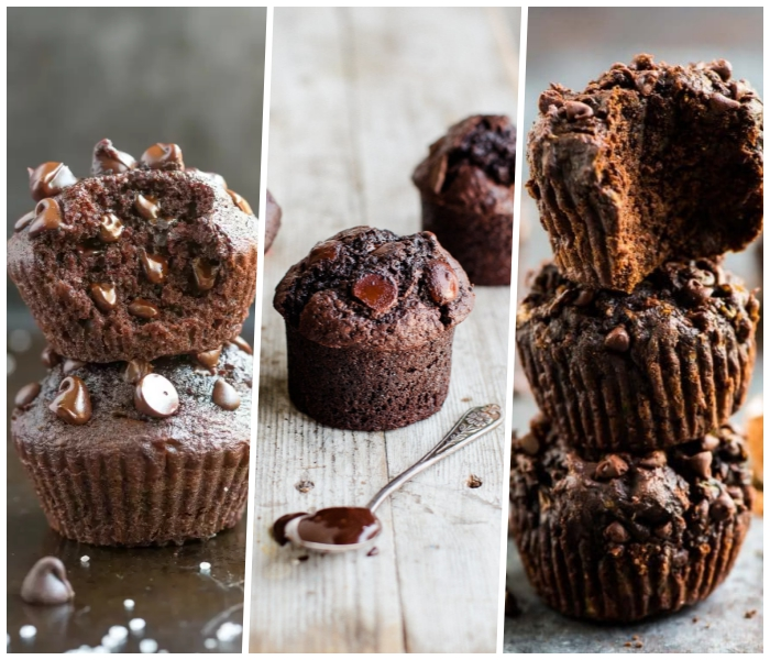 muffins rezept schoko, schnelle rezepte für cupcakes mit schokoalde, schokoladen chips
