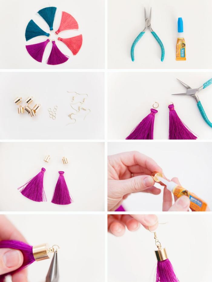 muttertag geschenk, bunte troddeln, goldene elemente, ohrringe selber machen, tutorial