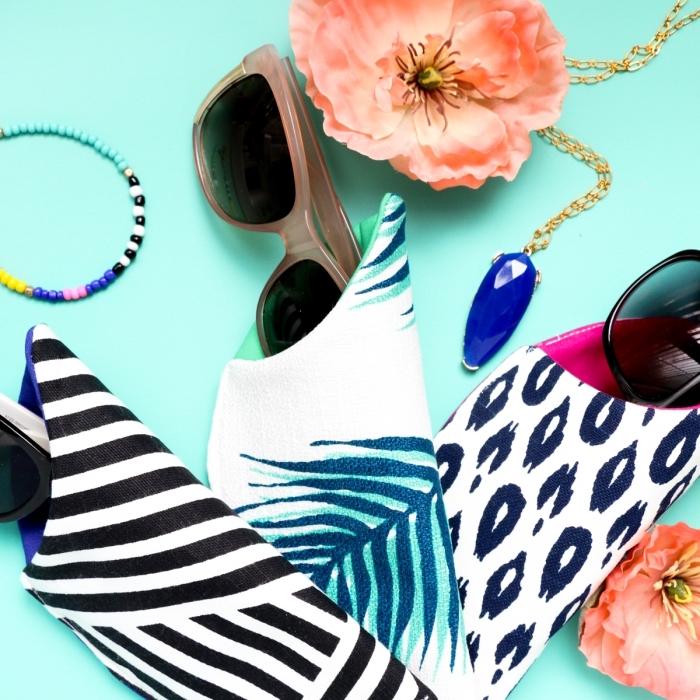muttertag geschenk ideen, selsbtgemachte brillentaschen, bunte stoffe, halskette mit großem blauem stein, sonnenbrille