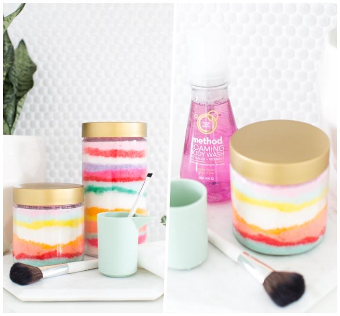 muttertag geschenk selber machen, körperpeeling mit zucker anleitung, kosmetik aus natürlichen zutaten